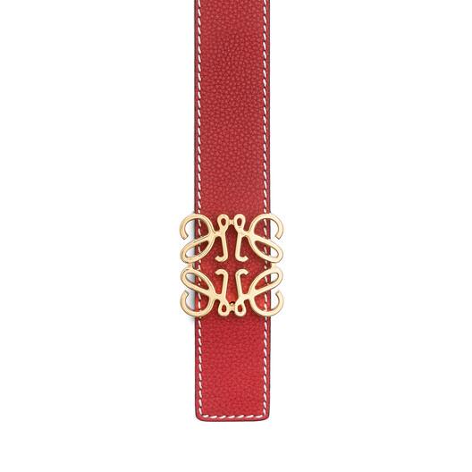 LOEWE Anagram Belt 3.2 Cm Rouge/Black/Gold front