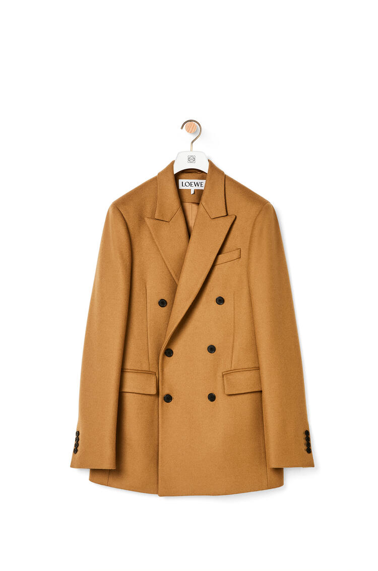 LOEWE Double-breasted jacket in wool and cashmere Camel pdp_rd