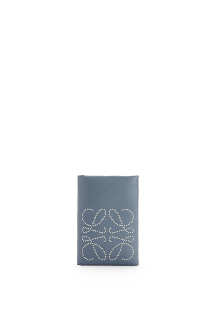 LOEWE Brand bifold card case in calfskin Storm Blue/Marble Grey pdp_rd