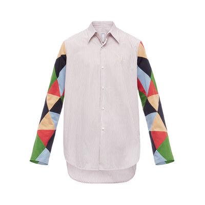 LOEWE Patchwork Sleeve Stripe Shirt マルチカラー front