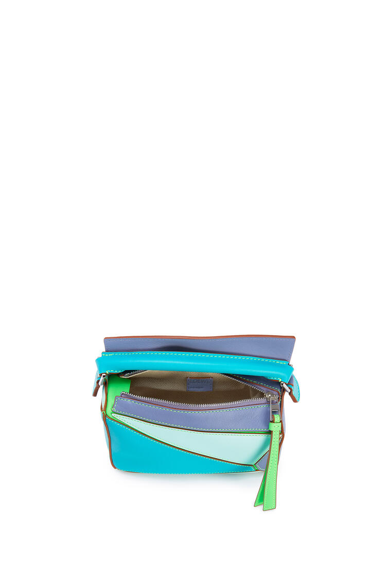 LOEWE Mini Puzzle Bag In Classic Calfskin Lagoon Blue/Blueberry pdp_rd