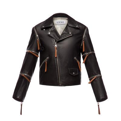LOEWE Biker Jacket Zips Black front