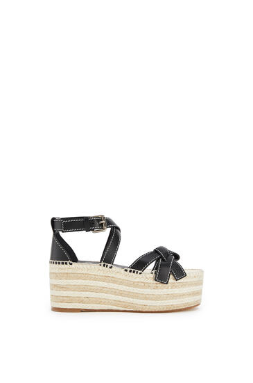 LOEWE Gate Wedge Espadrille In Calfskin Black pdp_rd