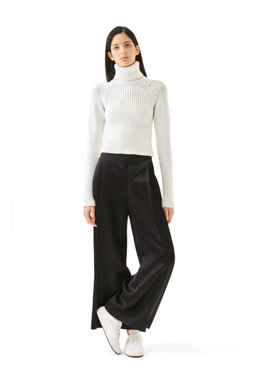 LOEWE Satin Pleated Trousers Black front