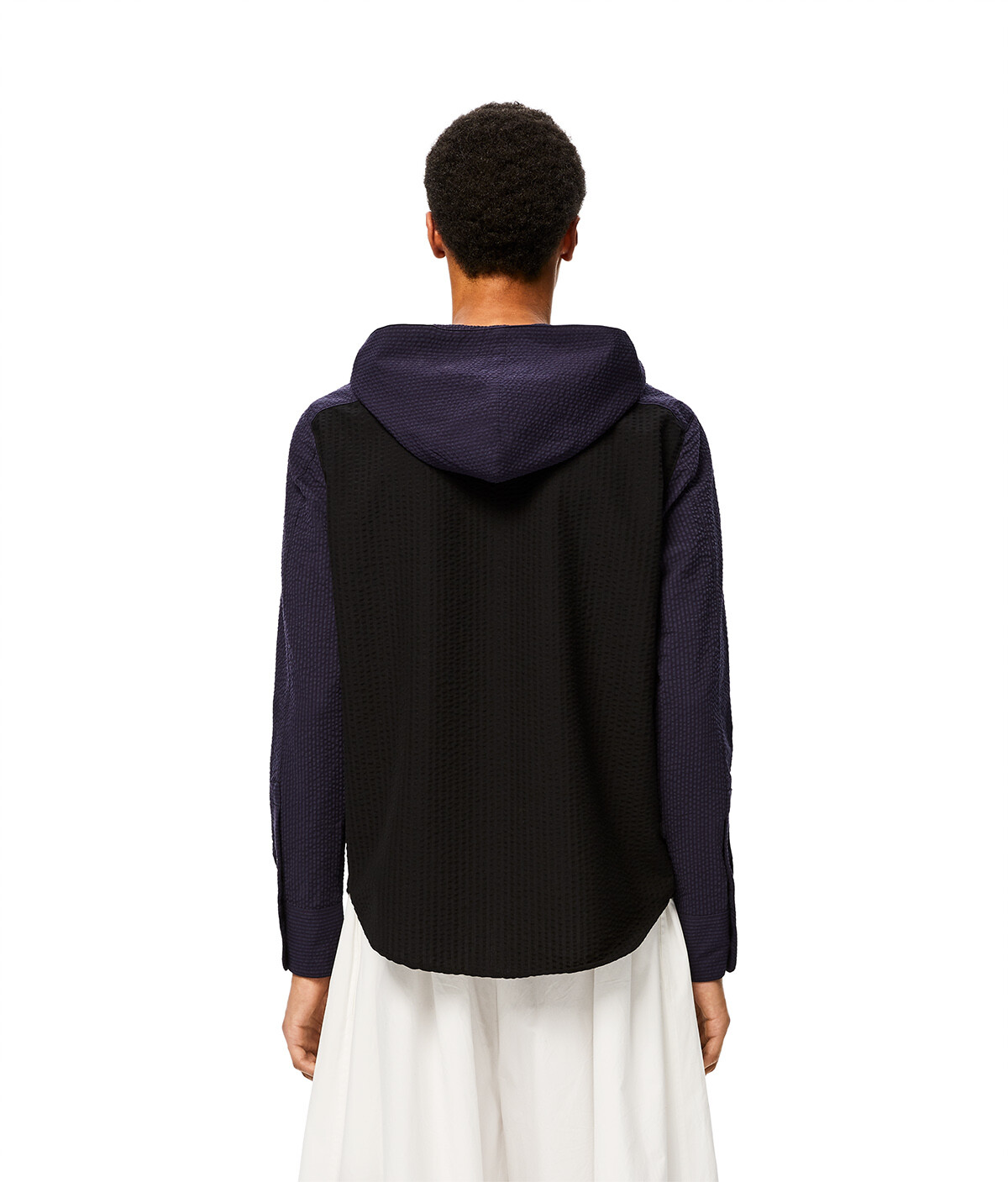 LOEWE Hooded Shirt Navy Blue/Black front