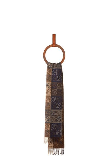 LOEWE Anagram scarf in wool and cashmere Navy/Brown pdp_rd