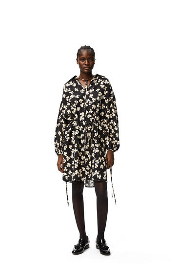 LOEWE Peasant mini dress in shamrock viscose Black/Ivory pdp_rd