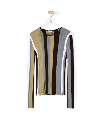 LOEWE 罗纹条纹针织上衣 White/Khaki Green front