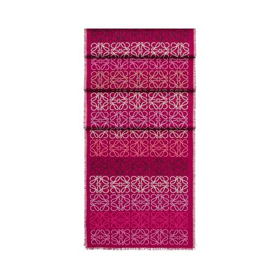 LOEWE 45X200 Anagram In Lines Scarf Fuchsia front