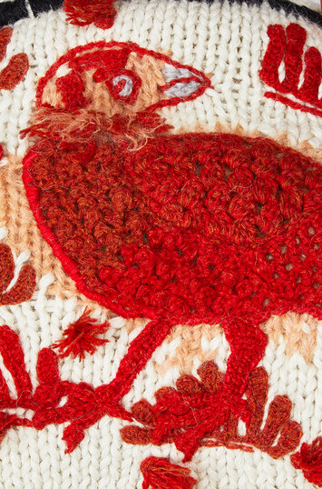 LOEWE Embroidered Knit Scarf Animals White/Red front