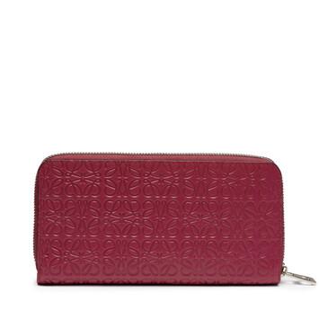 LOEWE Repeat Zip Around Wallet 覆盆莓色 front