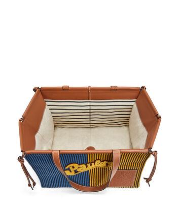 LOEWE Paula's Cushion Tote Stripes Large Azul/Amarillo front