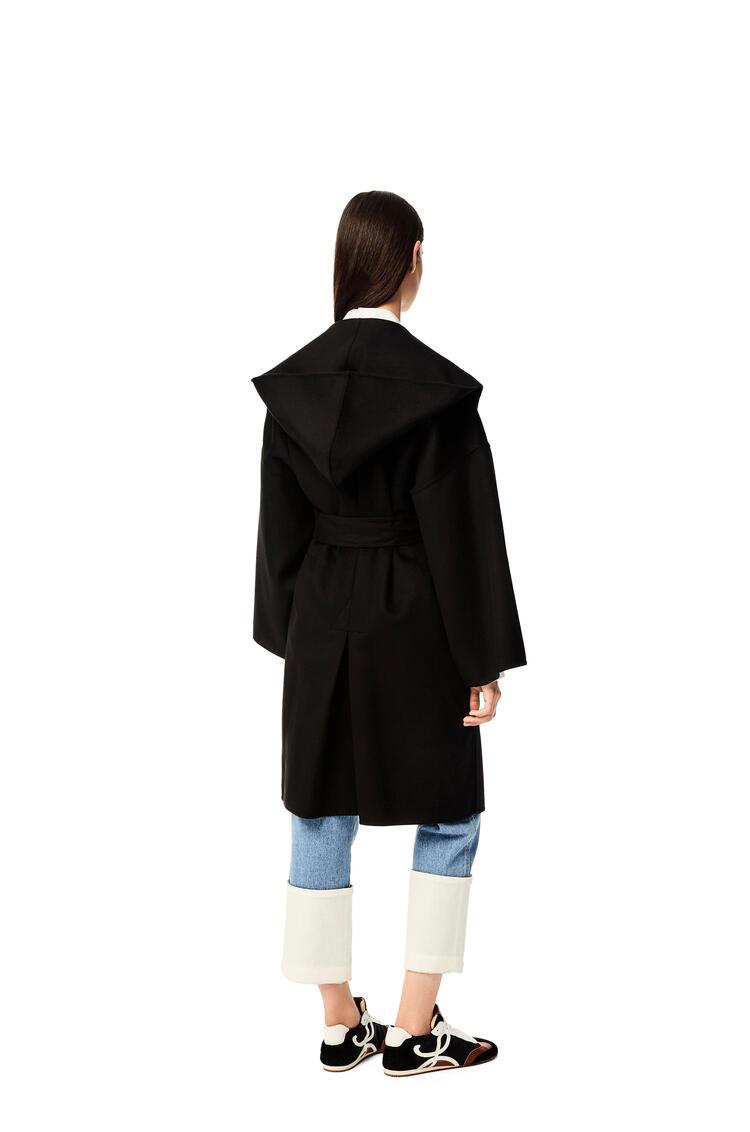 LOEWE Hooded coat in wool and cashemere Black pdp_rd