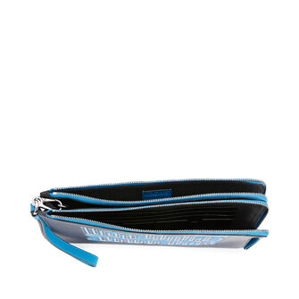 LOEWE Maze  Double Flat Pouch Midnight Blue/Fluo Blue front