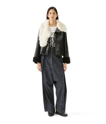 LOEWE Shearling Jacket Negro/Blanco front