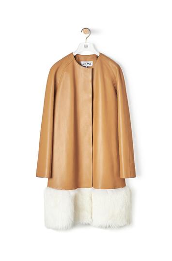 LOEWE Shearling Trim Coat Camel/Blanco front