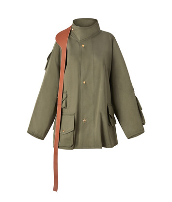 LOEWE Patch Pocket Military Parka Khaki Green front