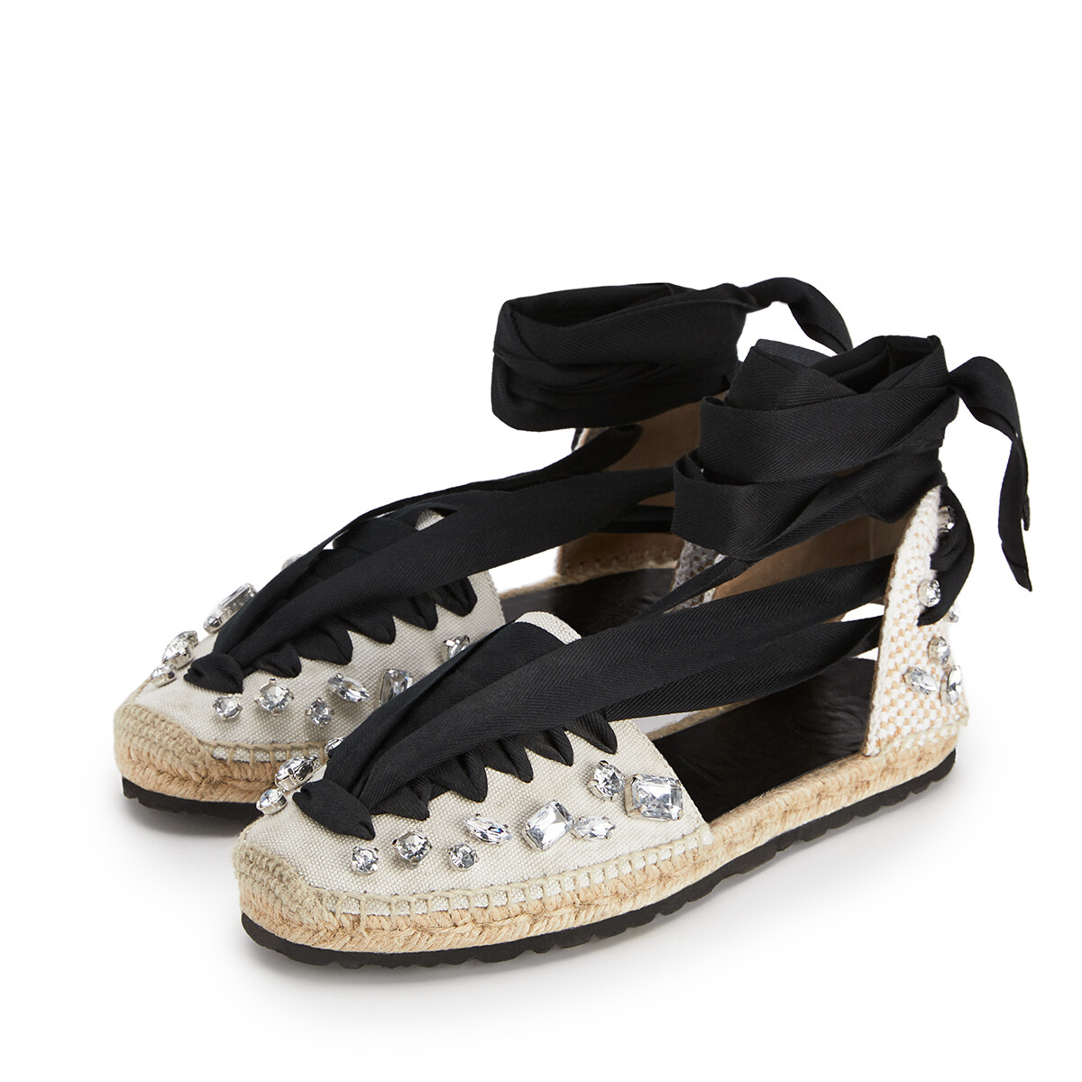 LOEWE Espadrille In Cotton Black/White front