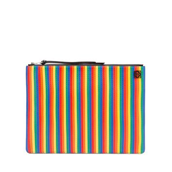 LOEWE Medium Rainbow Flat Pouch Multicolor/Black front