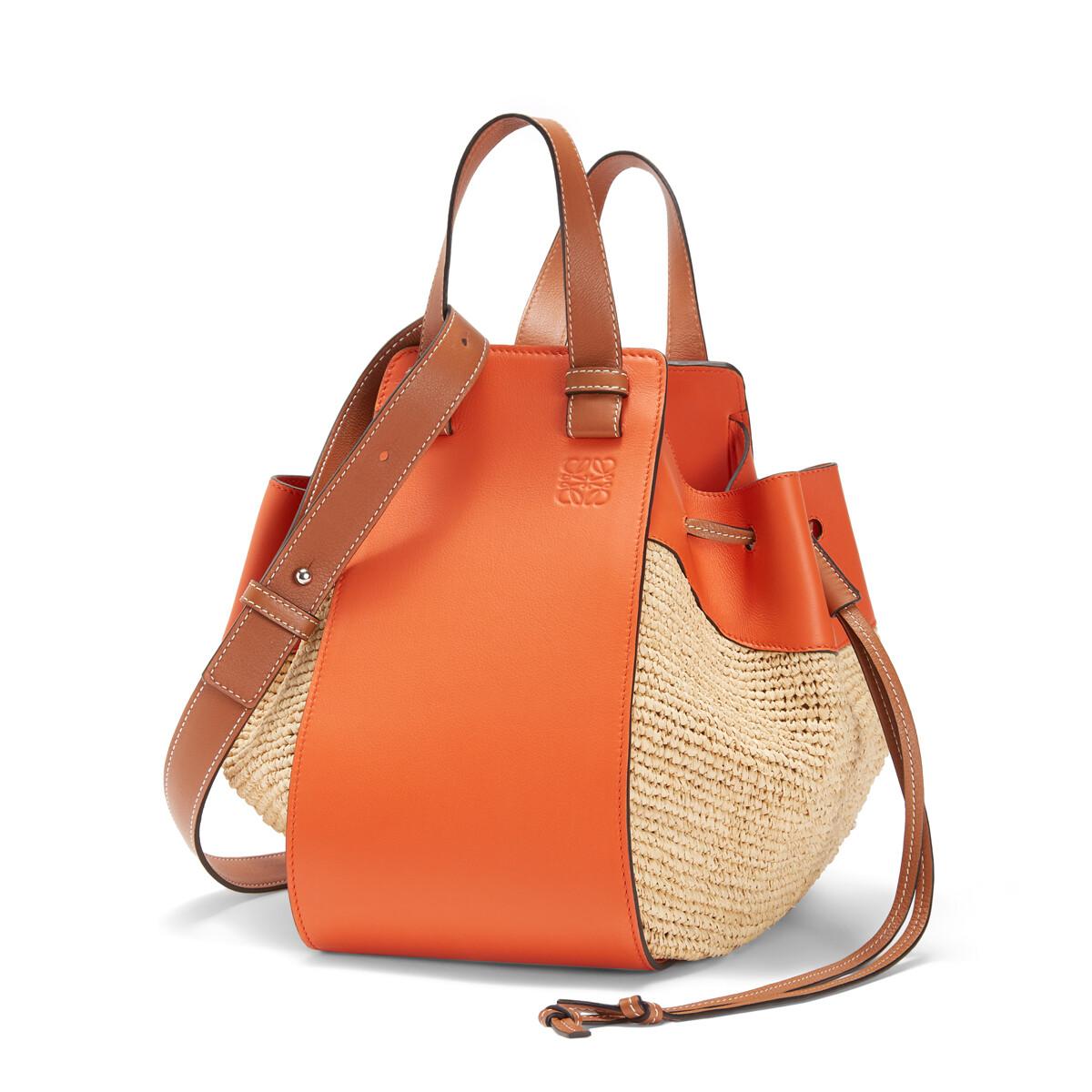 LOEWE Paula's Hammock Drawstring Medium Bag Orange/Natural front