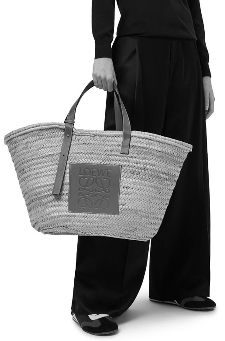 LOEWE Large Basket Bag In Palm Leaf And Calfskin Natural/Tan pdp_rd