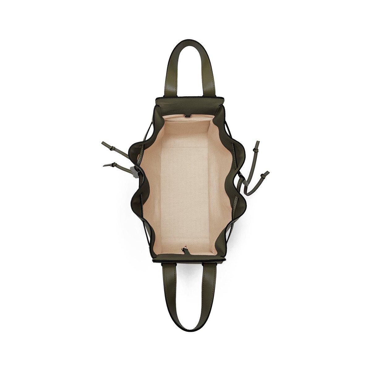 LOEWE Hammock Drawstring Small Bag Khaki Green front