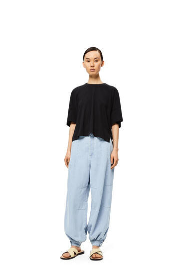 LOEWE Anagram Embroidered Short Oversize T-shirt In Cotton Black pdp_rd