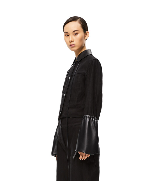 LOEWE Leather Collar Cuff Jacket Negro front