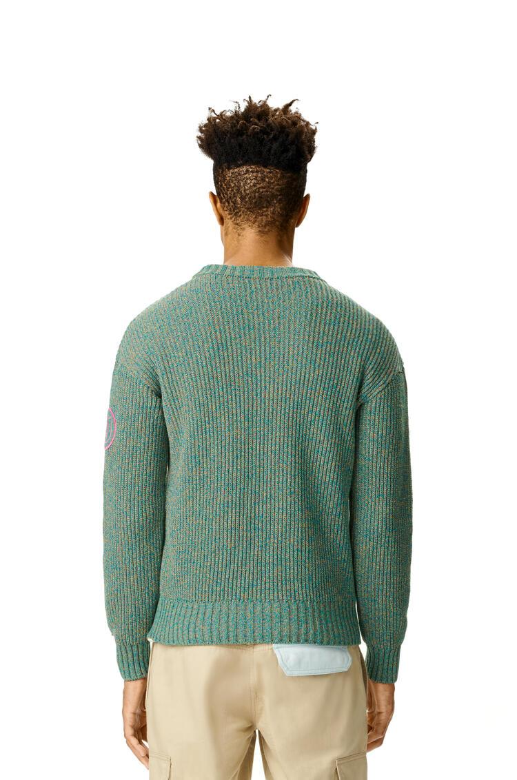 LOEWE Jersey de cuello redondo en algodón jaspeado Verde Esmeralda pdp_rd