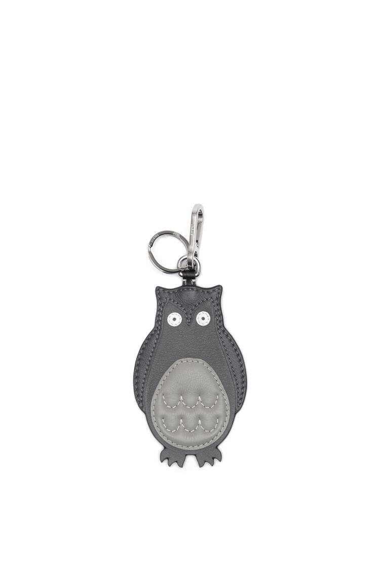 LOEWE Owl Charm In Calfskin Grey/Palladium pdp_rd