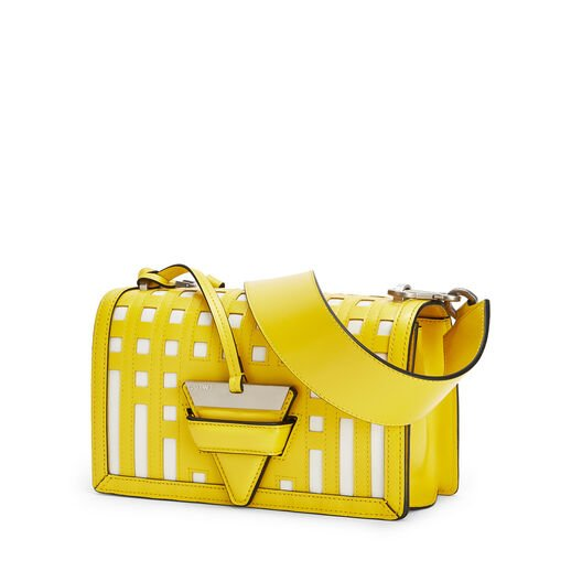LOEWE Barcelona Grid Bag Yellow/White front