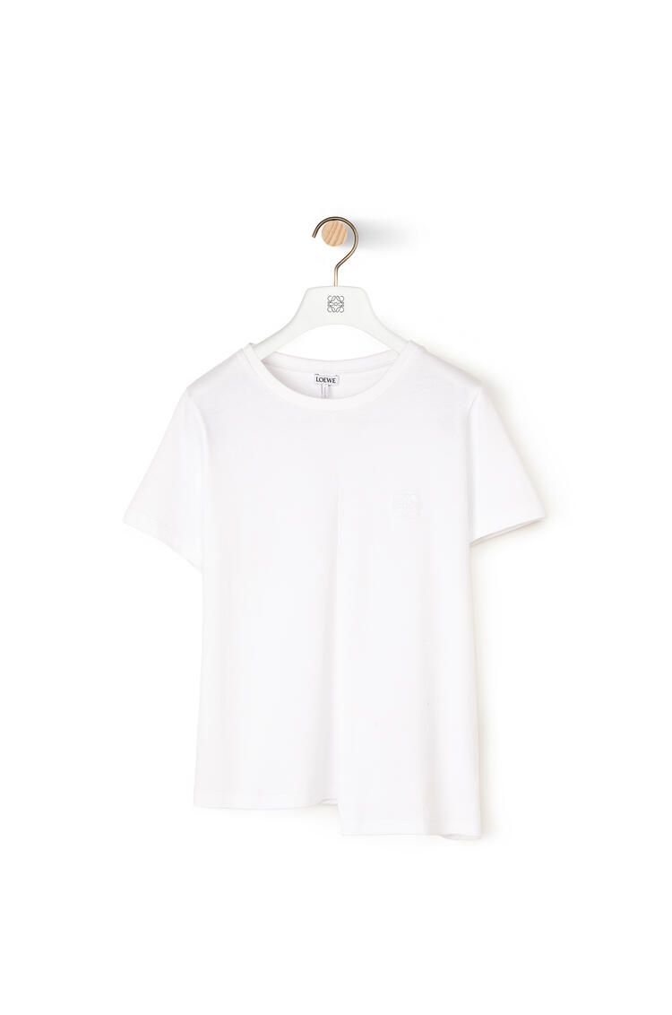 LOEWE Anagram embroidered asymmetric t-shirt in cotton White pdp_rd