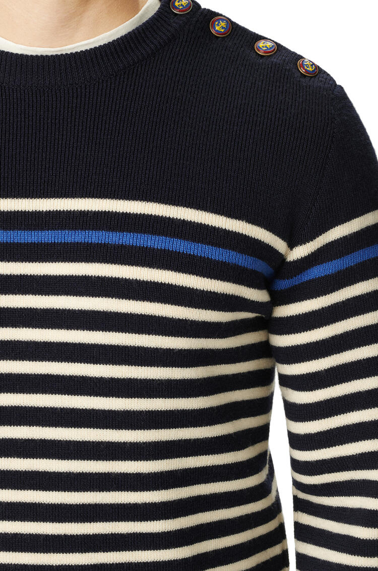 LOEWE Button sweater in striped wool Navy/White pdp_rd