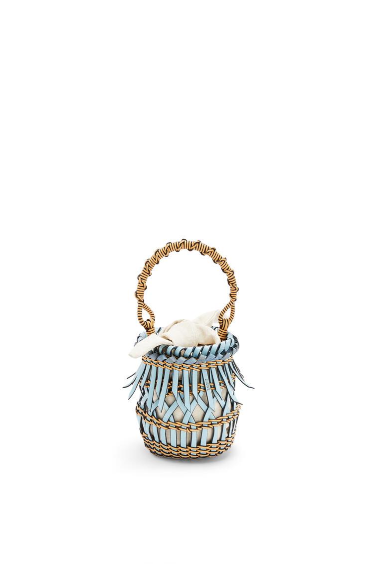 LOEWE Small Fringes Bucket bag in calfskin Light Blue/Honey pdp_rd