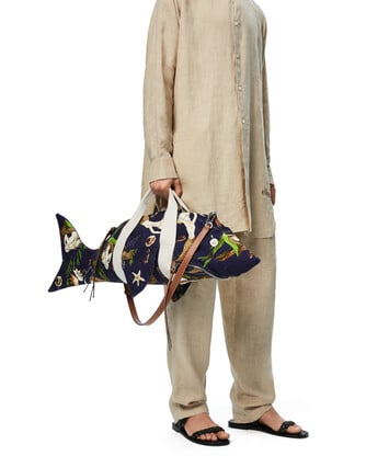 LOEWE Shark Bag In Mermaid Canvas And Calfskin Marine front