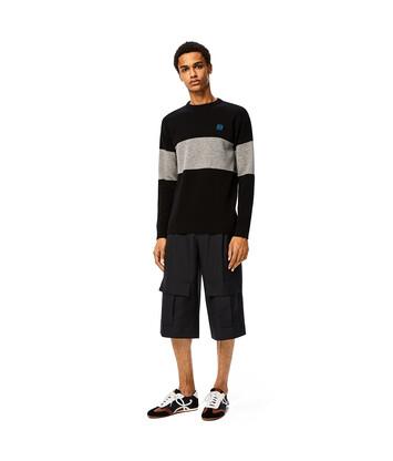 LOEWE Stripe Anagram Sweater 黑色/灰色 front