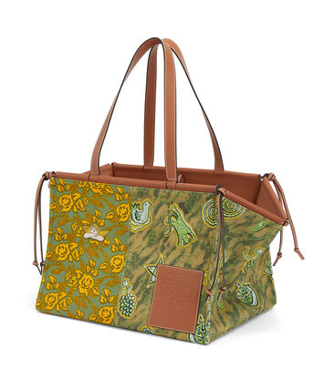 LOEWE Paula's Cushion Tote Prints Large Green/Yellow front