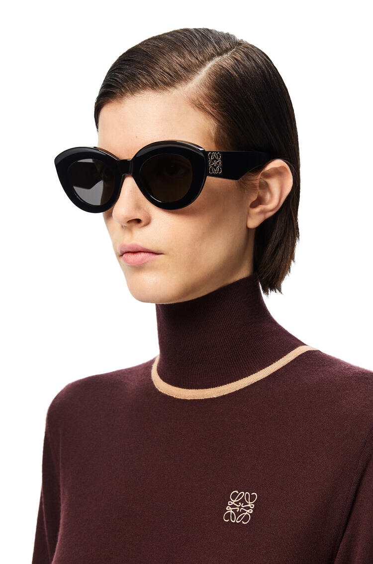 LOEWE Butterfly Anagram Fitted sunglasses in acetate Shiny Black pdp_rd