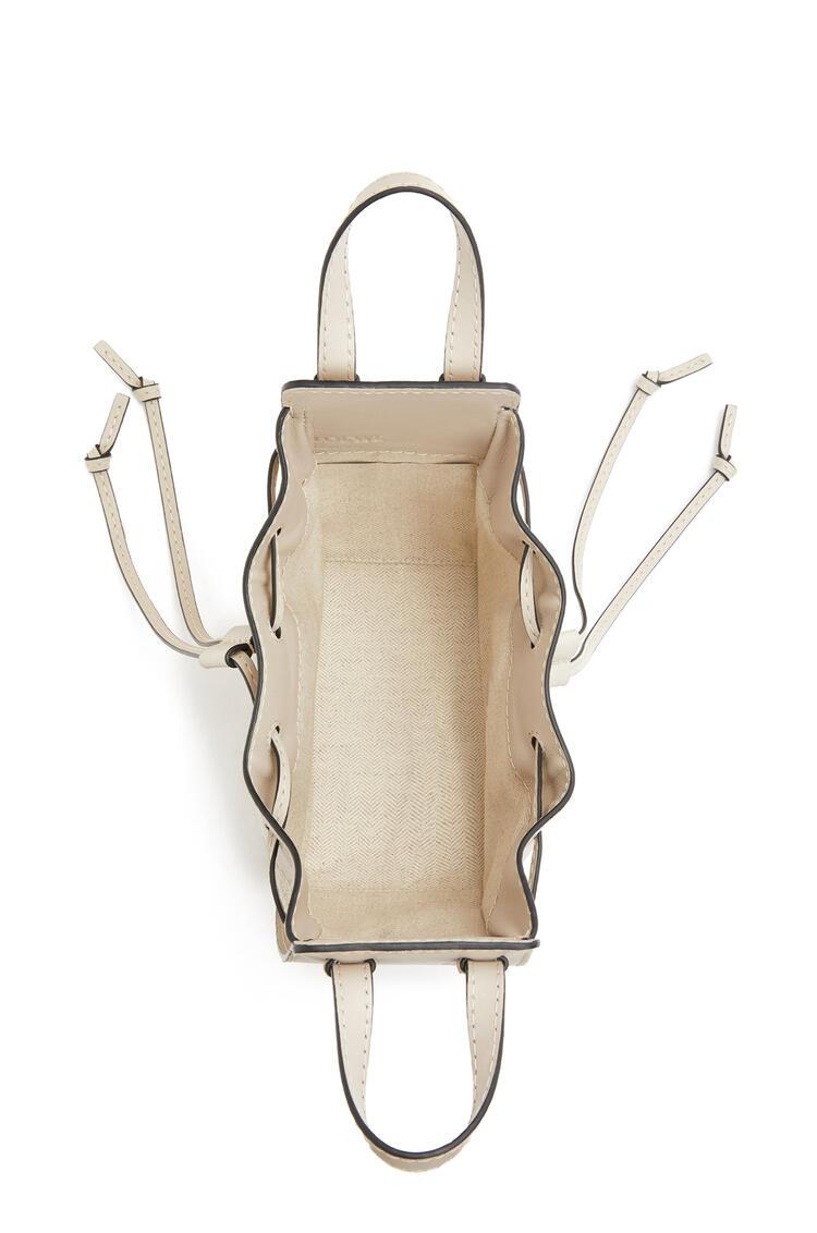LOEWE Mini Hammock Drawstring Bag In Calfskin And Linen Light Oat pdp_rd