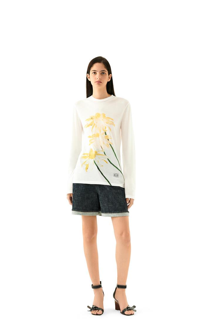 LOEWE daisy print long slv t-shirt in cotton Ecru/Yellow  pdp_rd