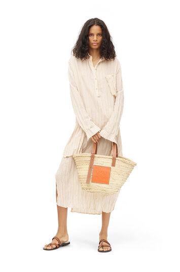 LOEWE Paula Stripe Long Shirtdress Beige/Blanco front