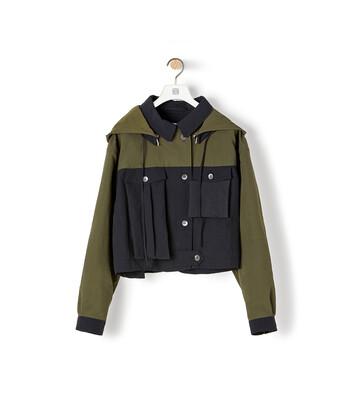 LOEWE Hooded Jacket Khaki Green/Black front
