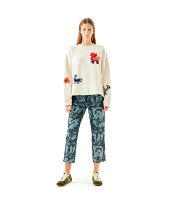 LOEWE Embroidered Sweatshirt Animals Off-White front