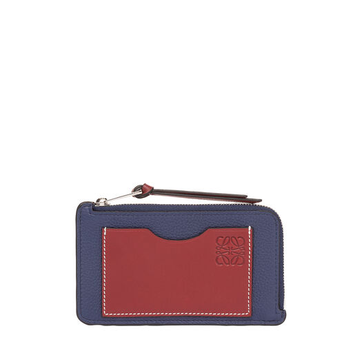 LOEWE Coin/Card Holder Large Marine/Brick Red front