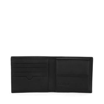 LOEWE Linen Bifold Coin Wallet Black front