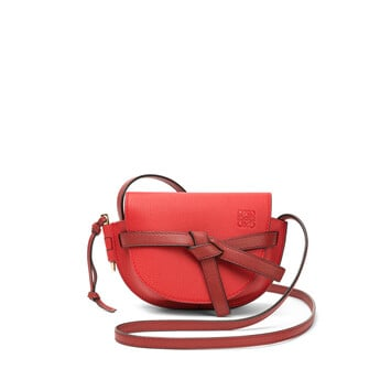 LOEWE ミニゲートバッグ Scarlet Red/Burnt Red front