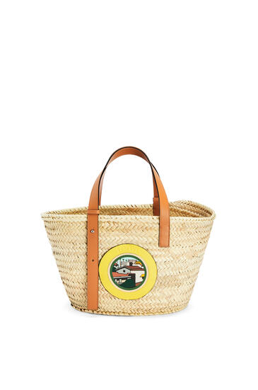 LOEWE 洛杉矶 系列棕榈叶和牛皮革 Basket 手袋 Natural/Multicolor pdp_rd