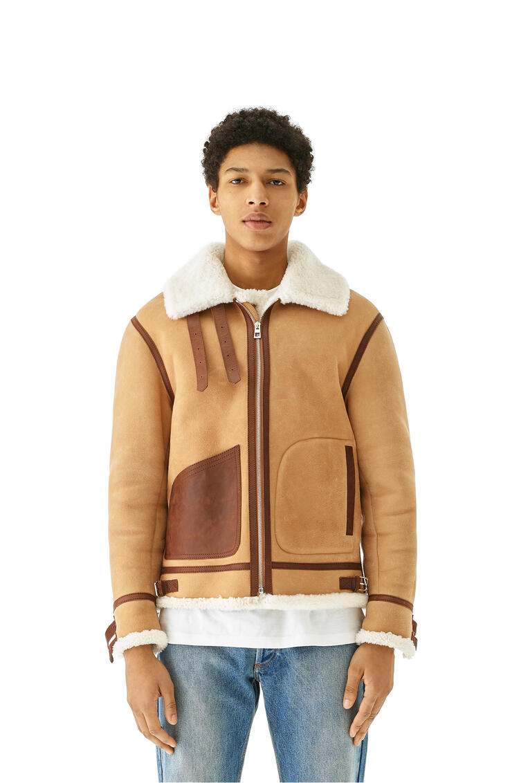 LOEWE Shearling Aviator Jacket In Novack And Nappa Camel pdp_rd