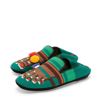 LOEWE Slipper Pie Bordado Marron/Verde front