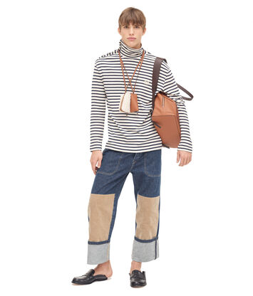 LOEWE Stripe Turtleneck Sweater Ecru/Navy Blue front